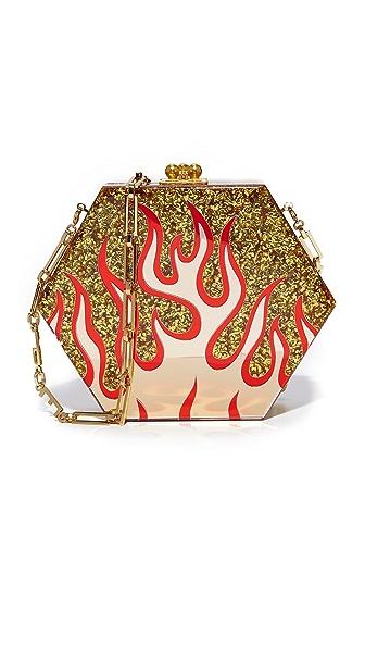 Edie Parker Macy Flames Clutch - Gold Confetti Multi