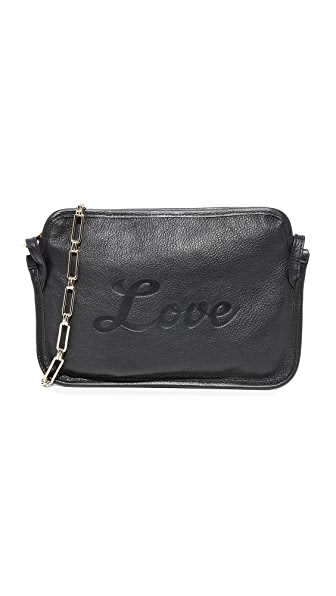 Edie Parker Amy Love Leather Cross Body Bag - Black