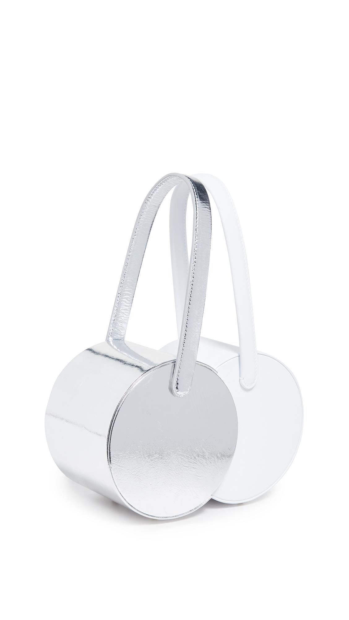Edie Parker Double Shot Bag - Silver/White