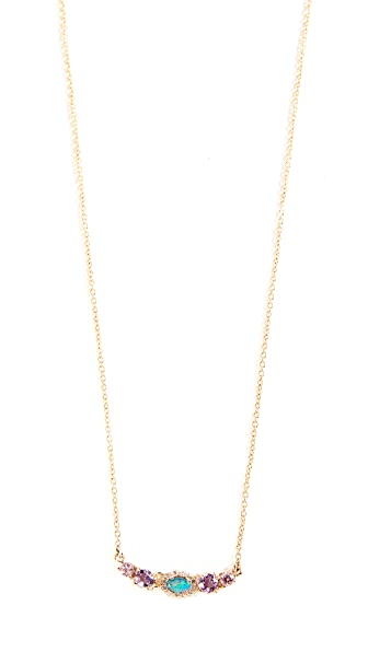 EDEN PRESLEY 14K Semi Curved Bar Necklace in Rubellite/Yellow Sapphire/Opal