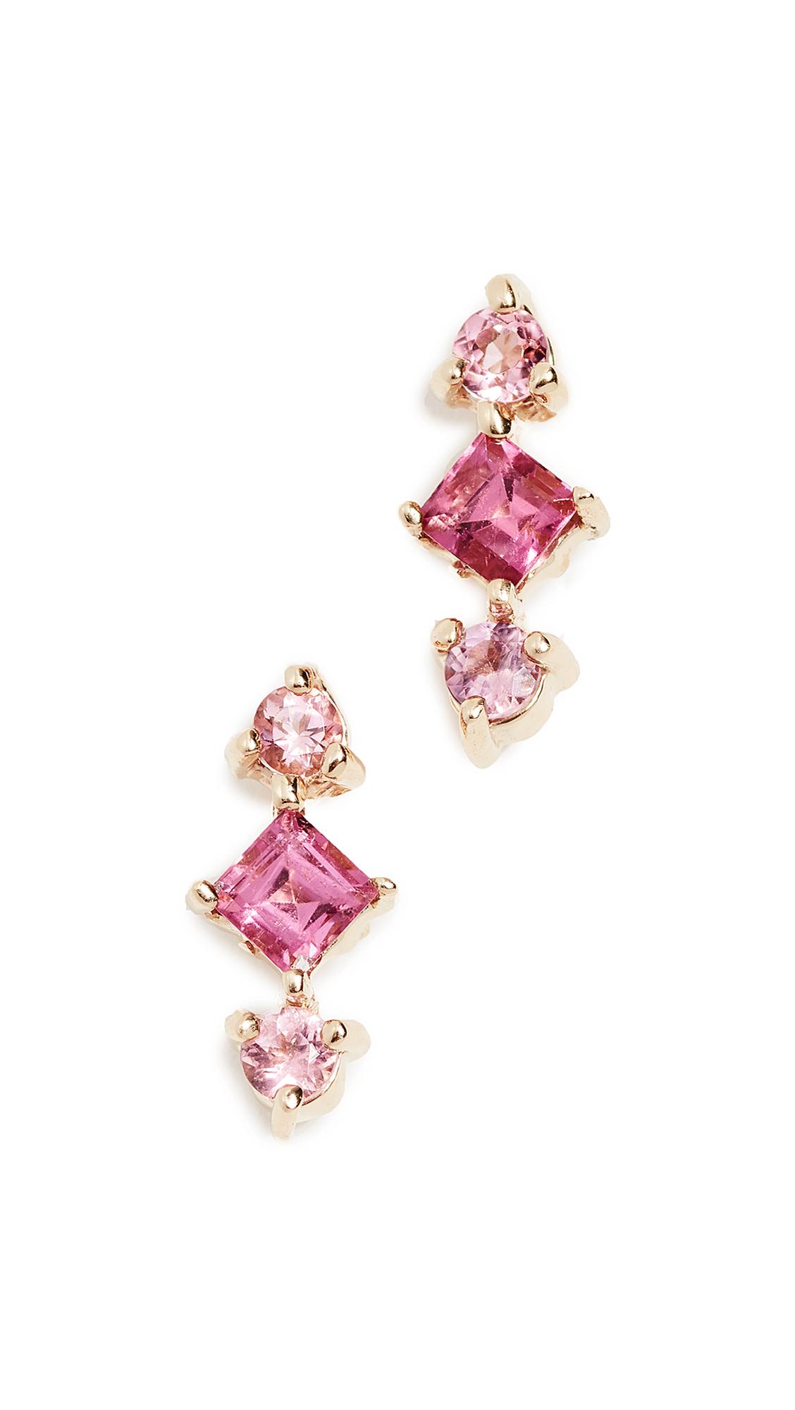 14K Gold Shades Tourmaline Earrings, Yellow Gold/Pink