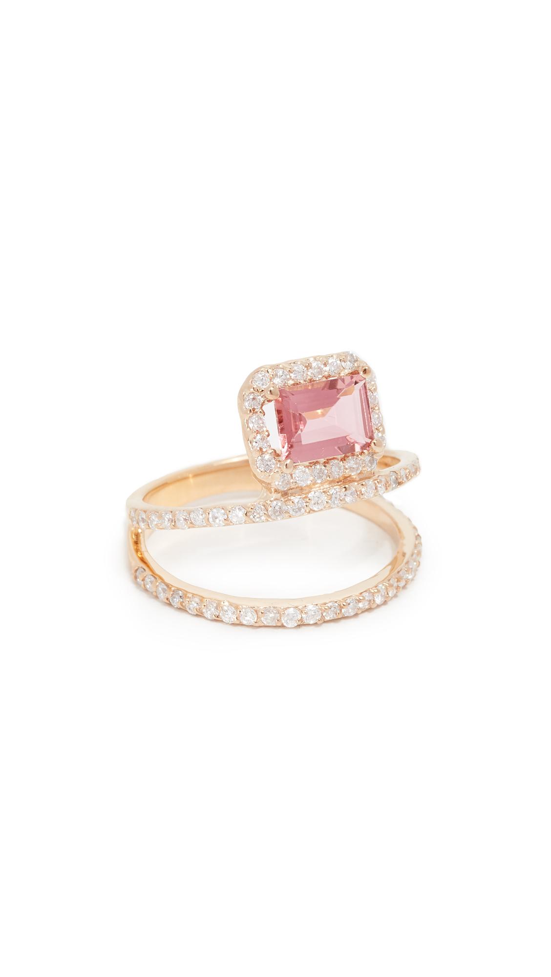 14K Gold Double Diamond Bar Ring, Yellow Gold/Pink