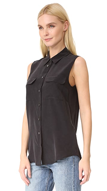 Equipment Sleeveless Slim Signature Blouse