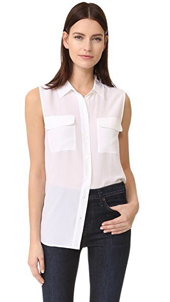 Equipment Sleeveless Slim Signature Blouse - Bright White