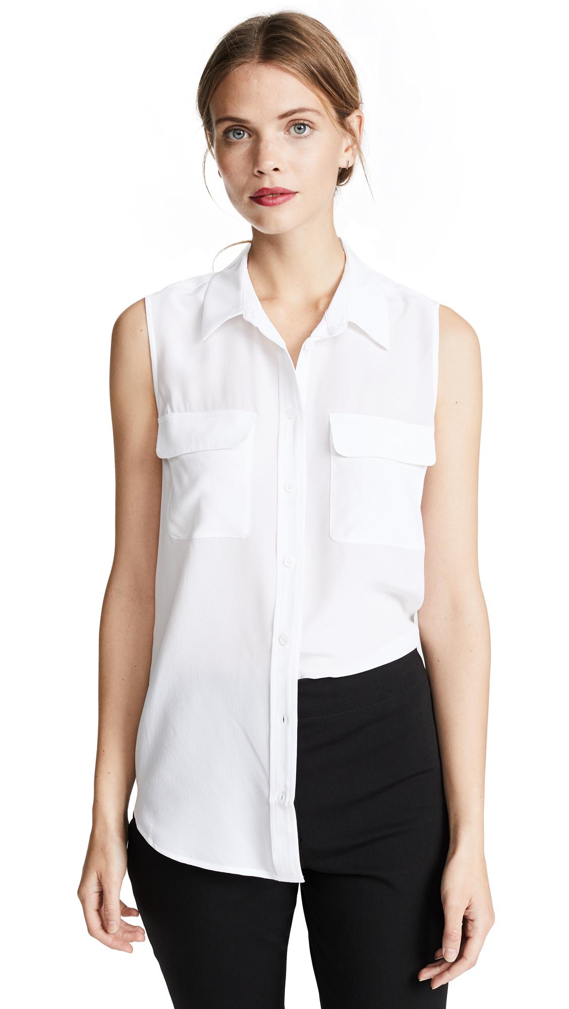 Equipment Sleeveless Slim Signature Blouse - Bright White