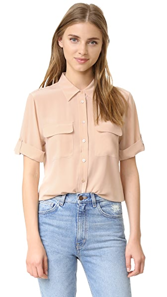Equipment Short Sleeve Slim Signature Blouse | SHOPBOP