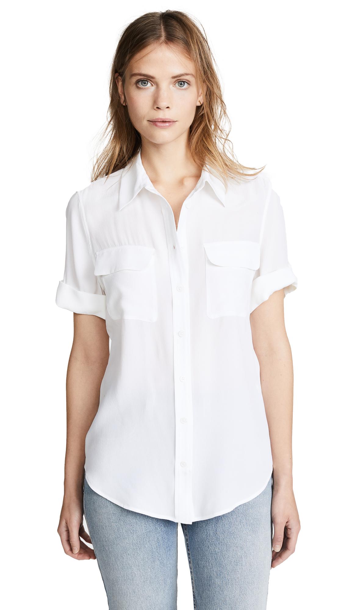 Equipment Short Sleeve Slim Signature Blouse - Bright White