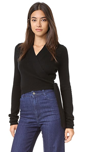 Equipment Shaylin Cropped Wrap Sweater - Black