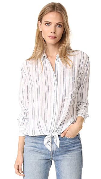 Equipment Daddy Tie Front Blouse In Bright White/Seaside Blue