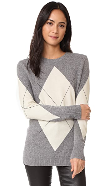 Equipment Rei Argyle Sweater - Heather Grey Multi