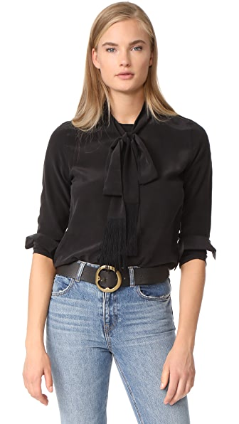 Equipment Essential Tie Neck Blouse - True Black