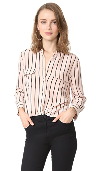 Equipment Cropped 3/4 Sleeve Signature Blouse In French Tan/True Black