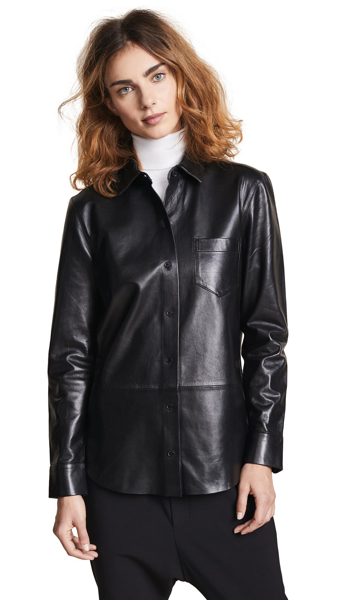 Brett Leather Button Down in True Black