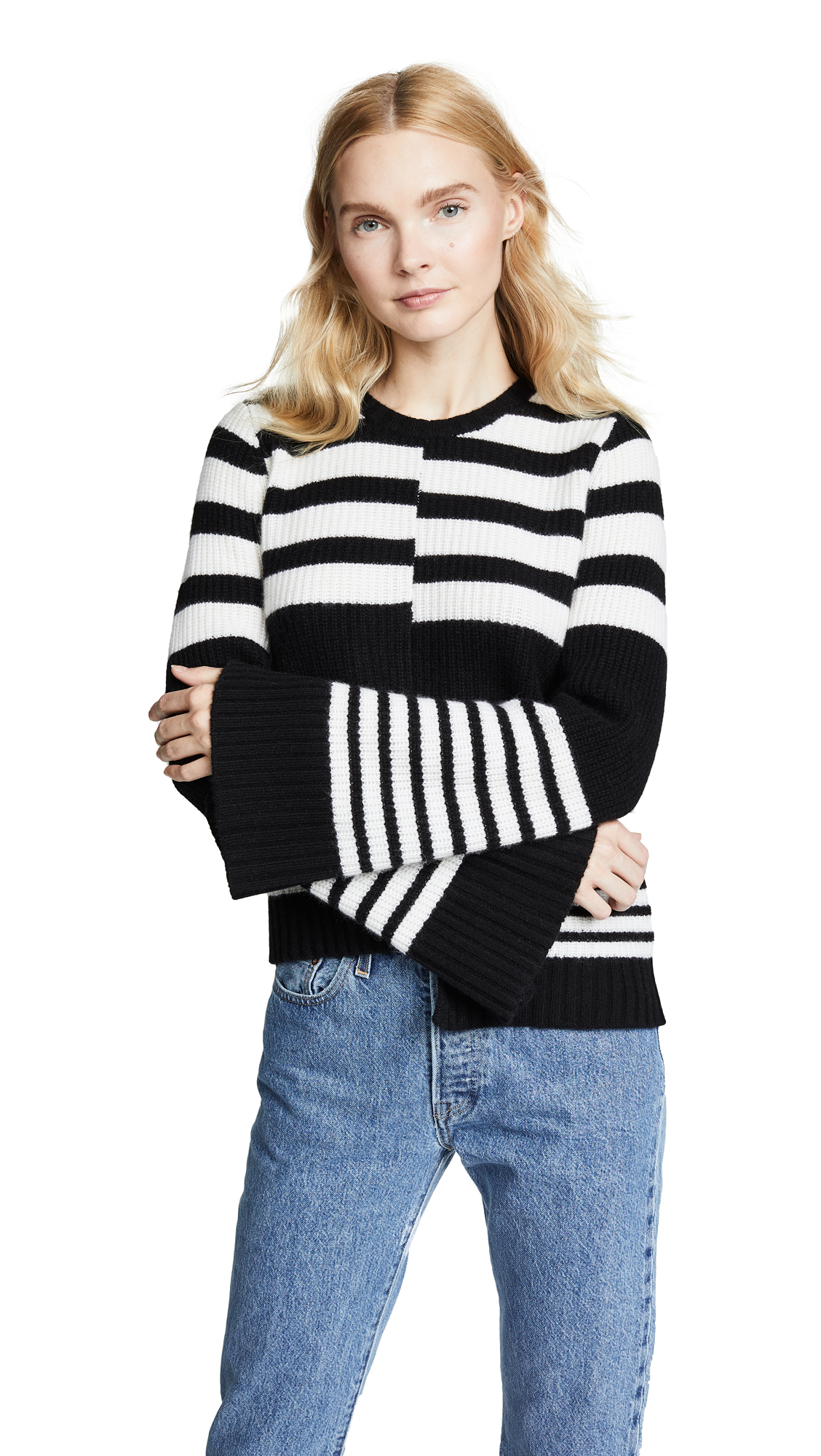 Elm Asymmetric Striped Ribbed Cashmere Sweater in Ivory/Black