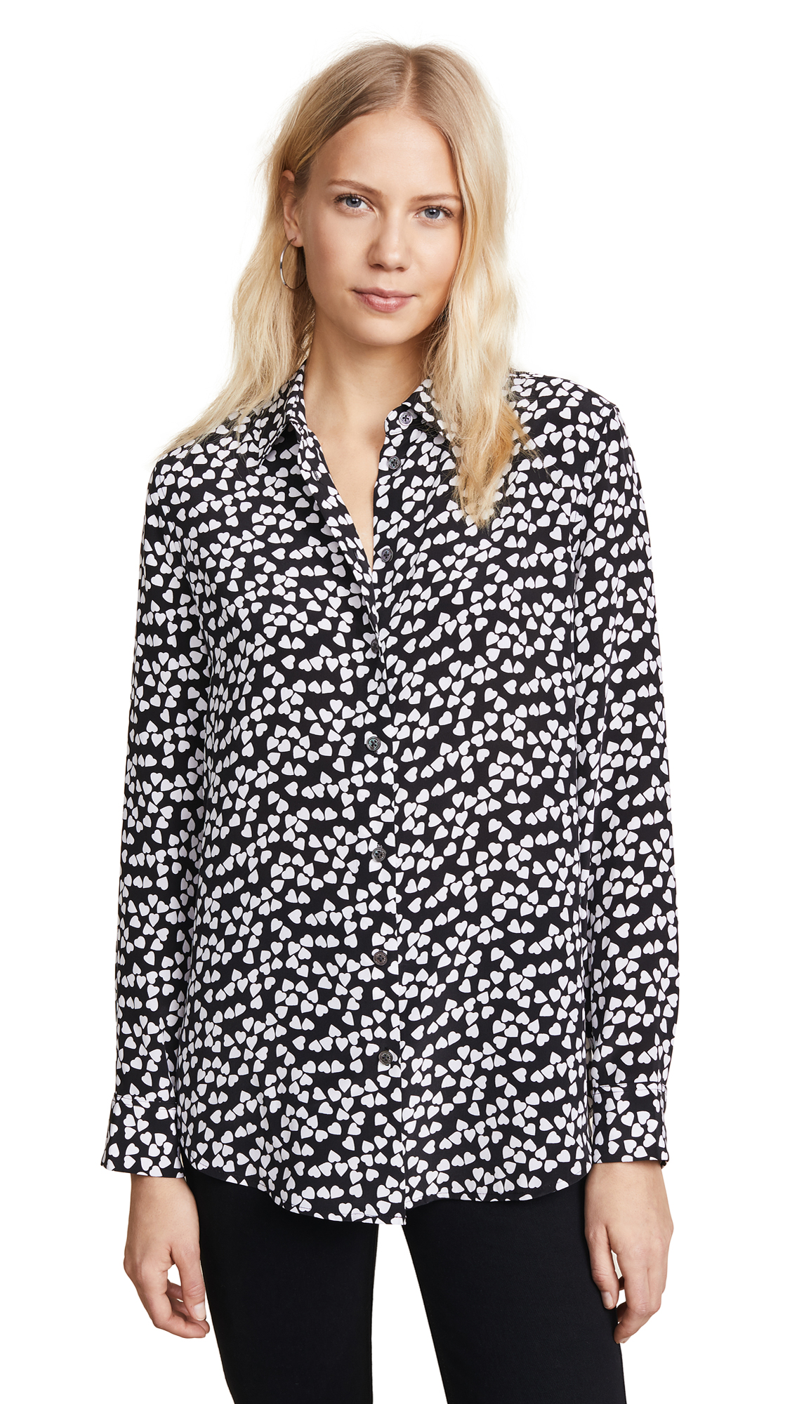 Equipment Hearts Silk Printed Button-front Shirt In Black