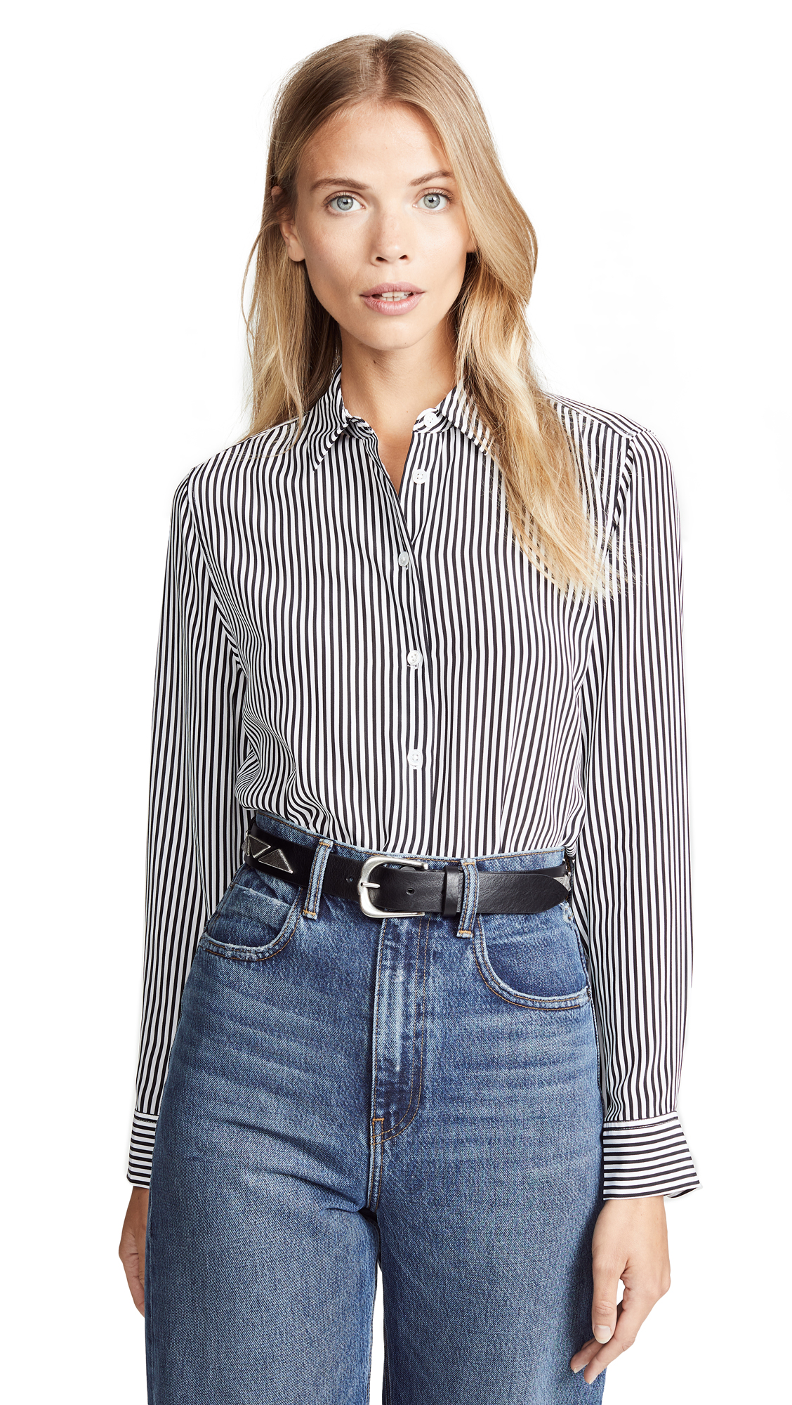 Equipment Essential Button-front Striped Silk Shirt In Black & White