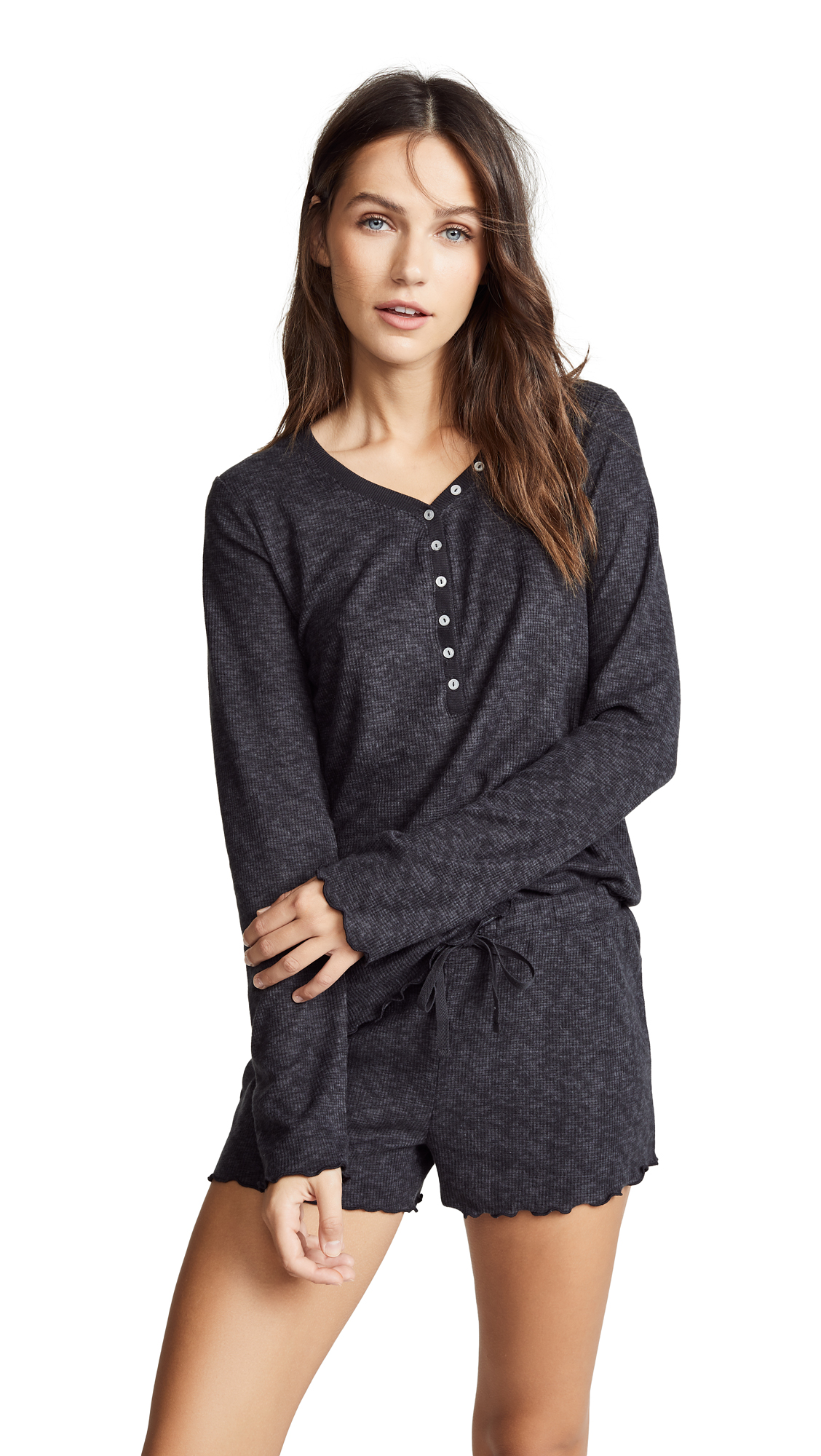 Emerson Road It's All About Texture Long Sleeve PJ Set In Black