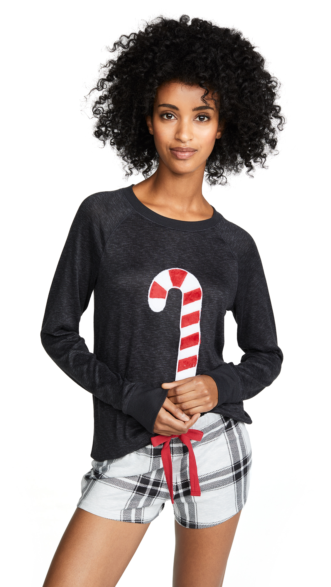 Emerson Road Candy Cane PJ Set In Black