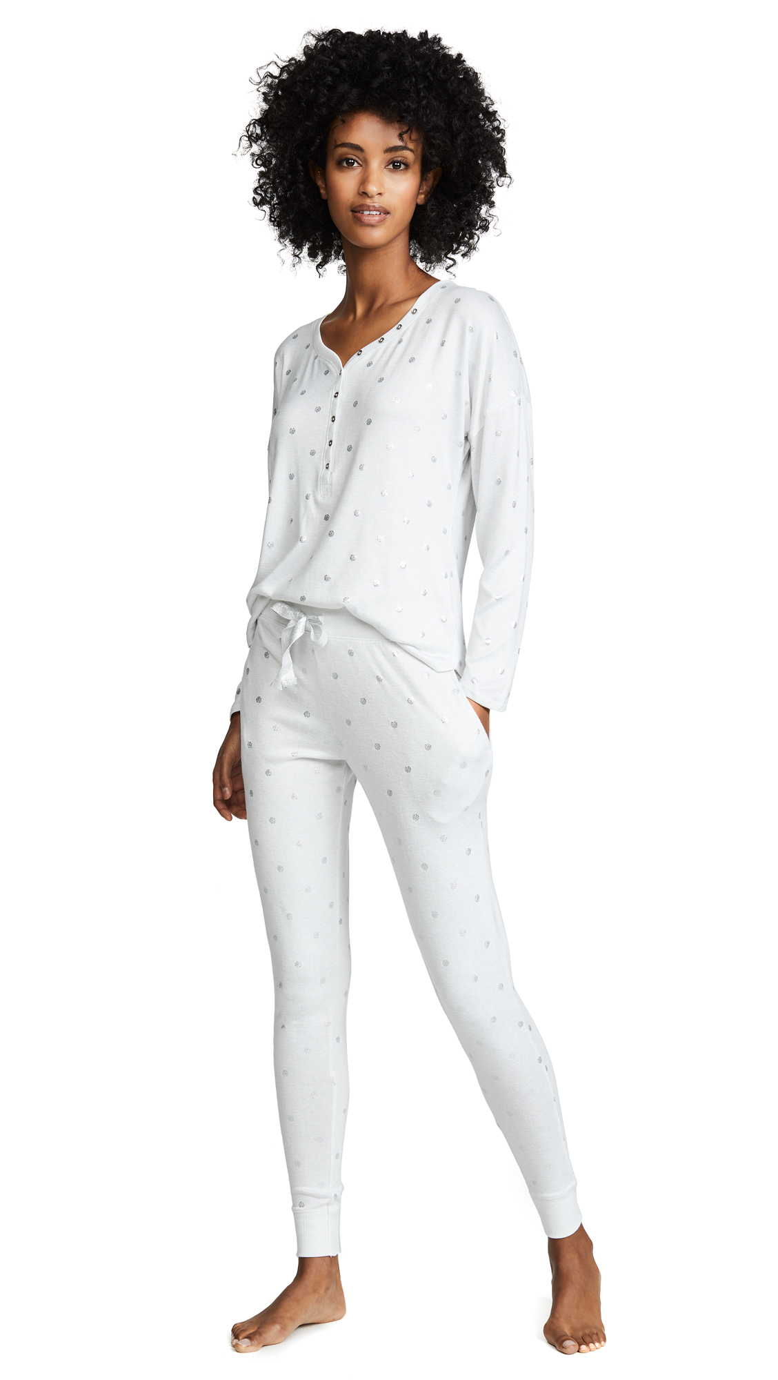 Emerson Road Polka Dot Foil PJ Set In White
