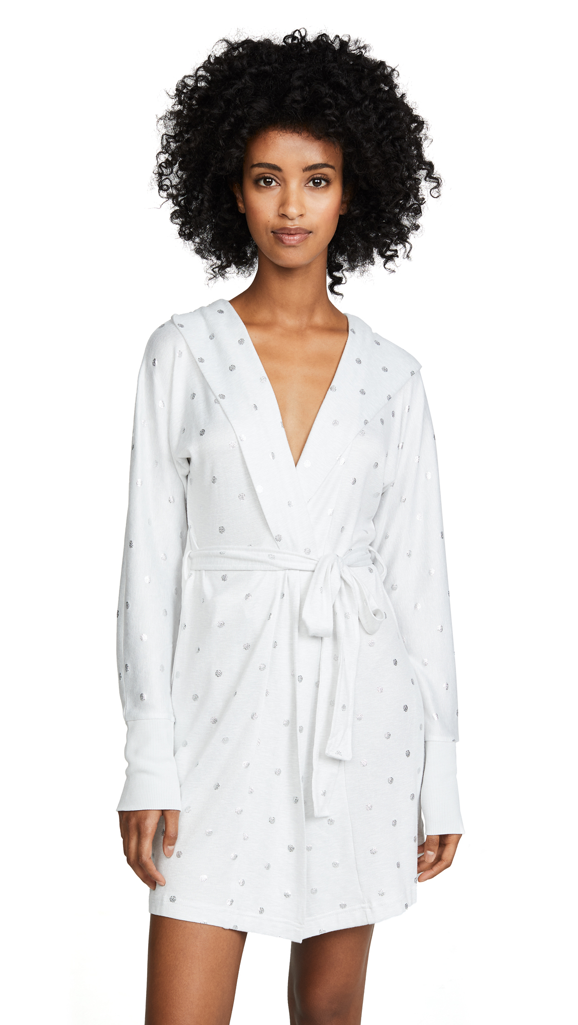 Emerson Road Polka Dot Robe In White