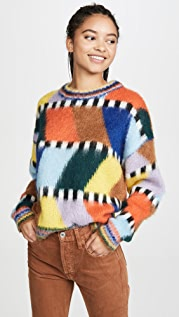 Essentiel Antwerp Tahini Intarsia Fluffy Sweater