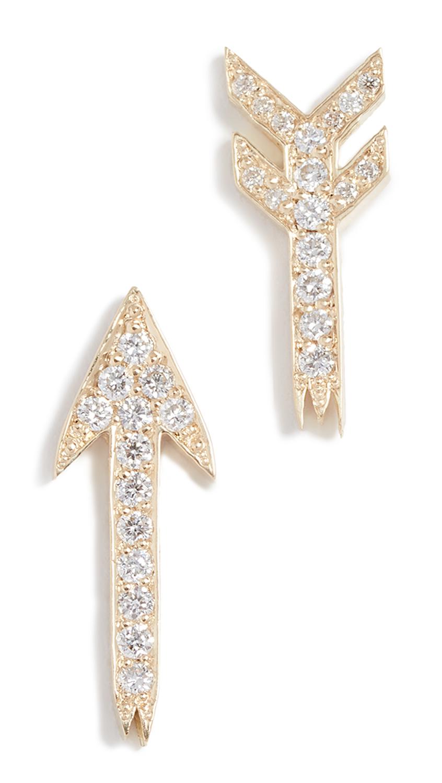 ESTABLISHED 18K GOLD BROKEN ARROW DIAMOND STUD EARRINGS