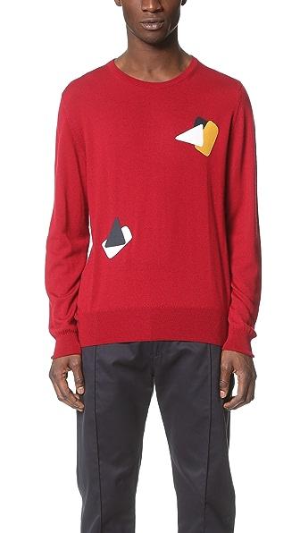 E. Tautz Embroidered Fine Gauge Crew Neck Sweater