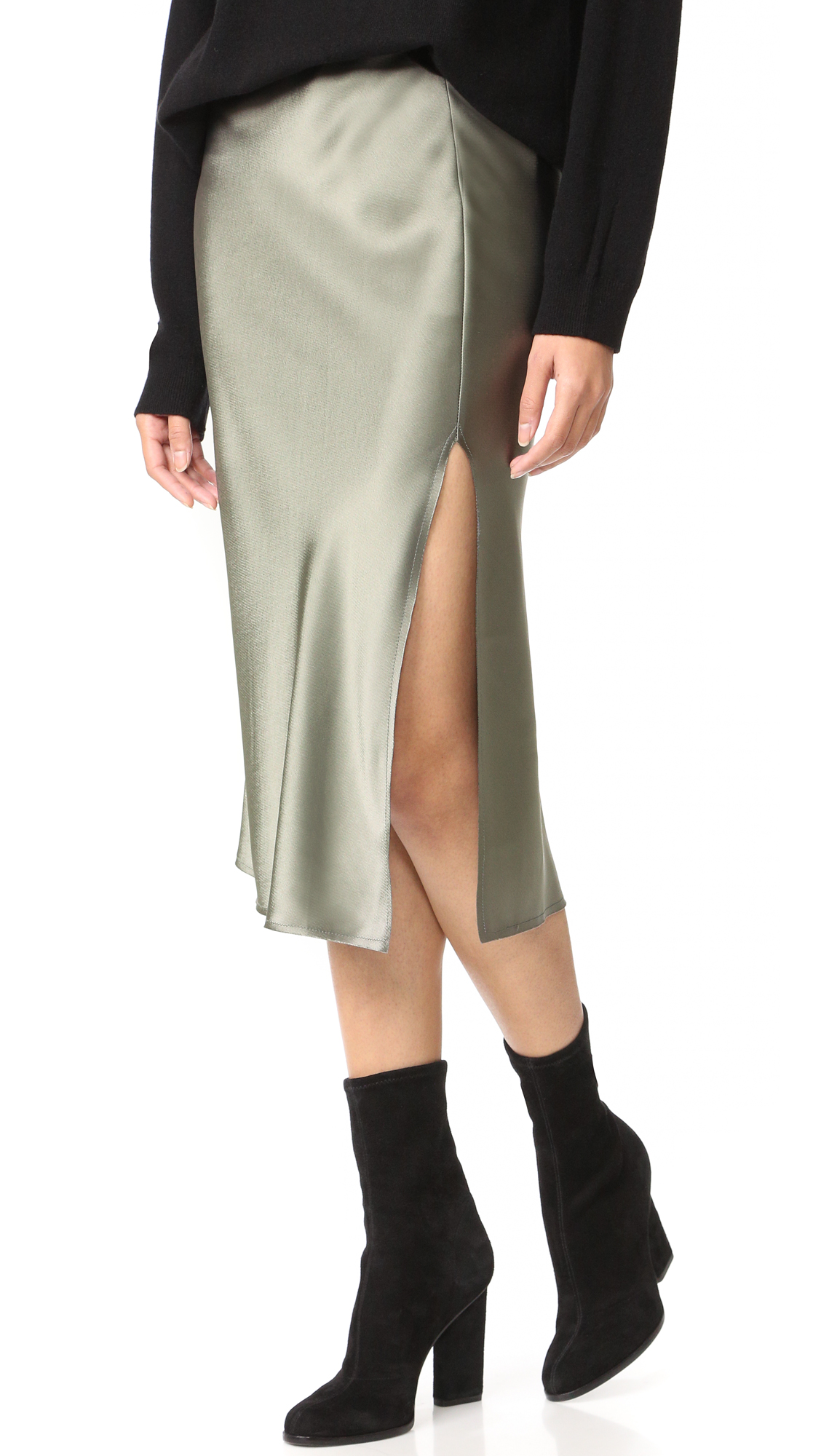 Emerson Thorpe Tori Mid Length Skirt - Smoke