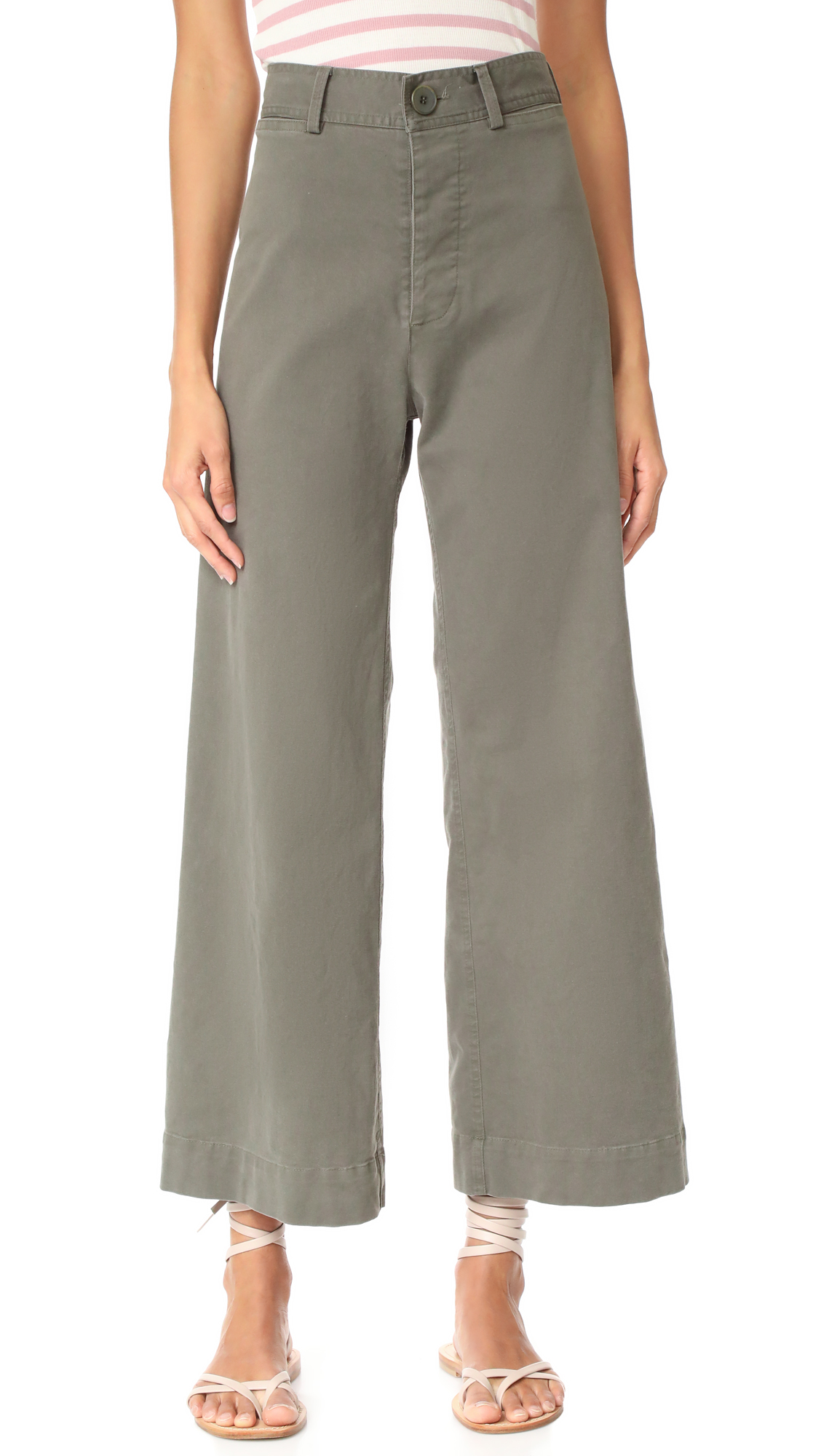 Emerson Thorpe Ryan High Waisted Wide Leg Pants - Army