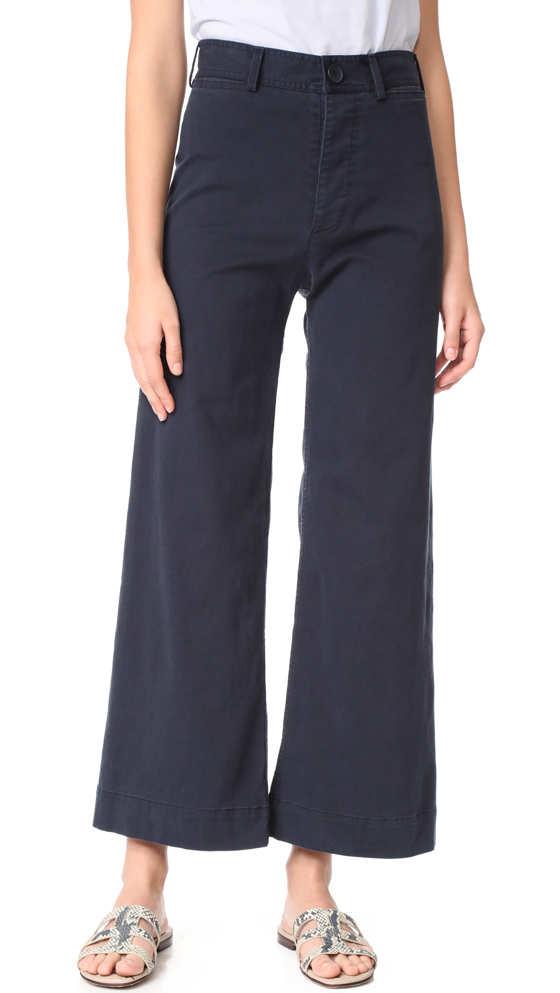 Emerson Thorpe Ryan High Waisted Wide Leg Pants - Navy