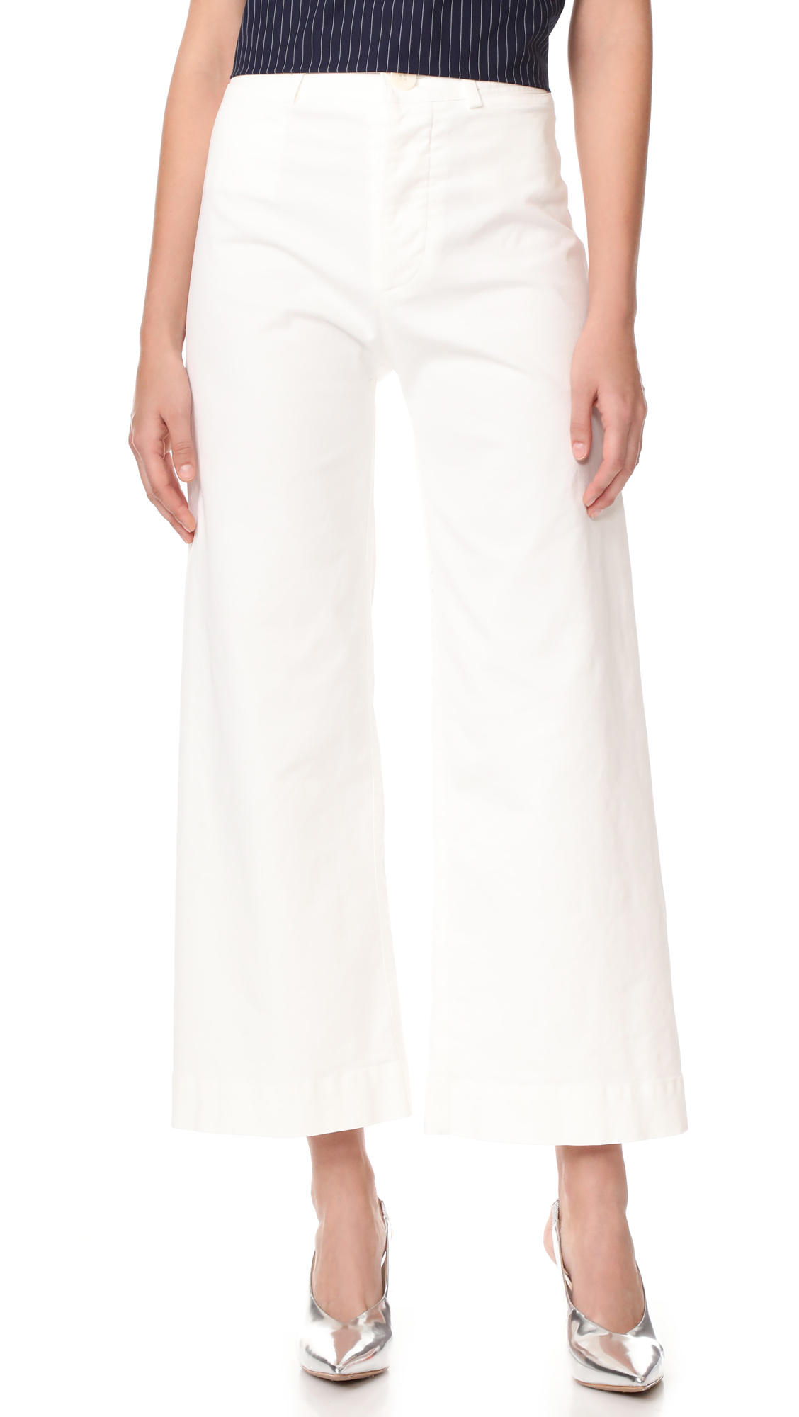 Emerson Thorpe Ryan High Waisted Wide Leg Pants - White