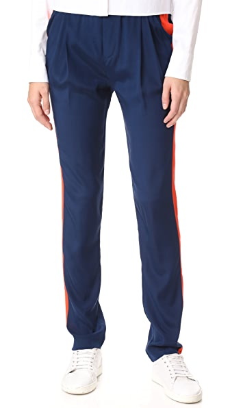 Emerson Thorpe Logan Silk Track Pants In Navy/Orange
