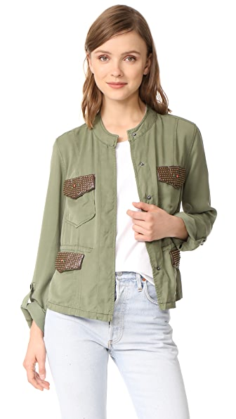 Etienne Marcel Vanessa Studded Cargo Jacket In Army