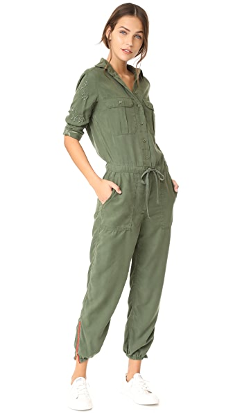 Etienne Marcel Marjan Army Embroidered Jumpsuit - Military