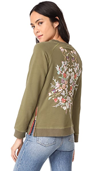 Etienne Marcel Natalie Embroidered Sweatshirt In Khaki