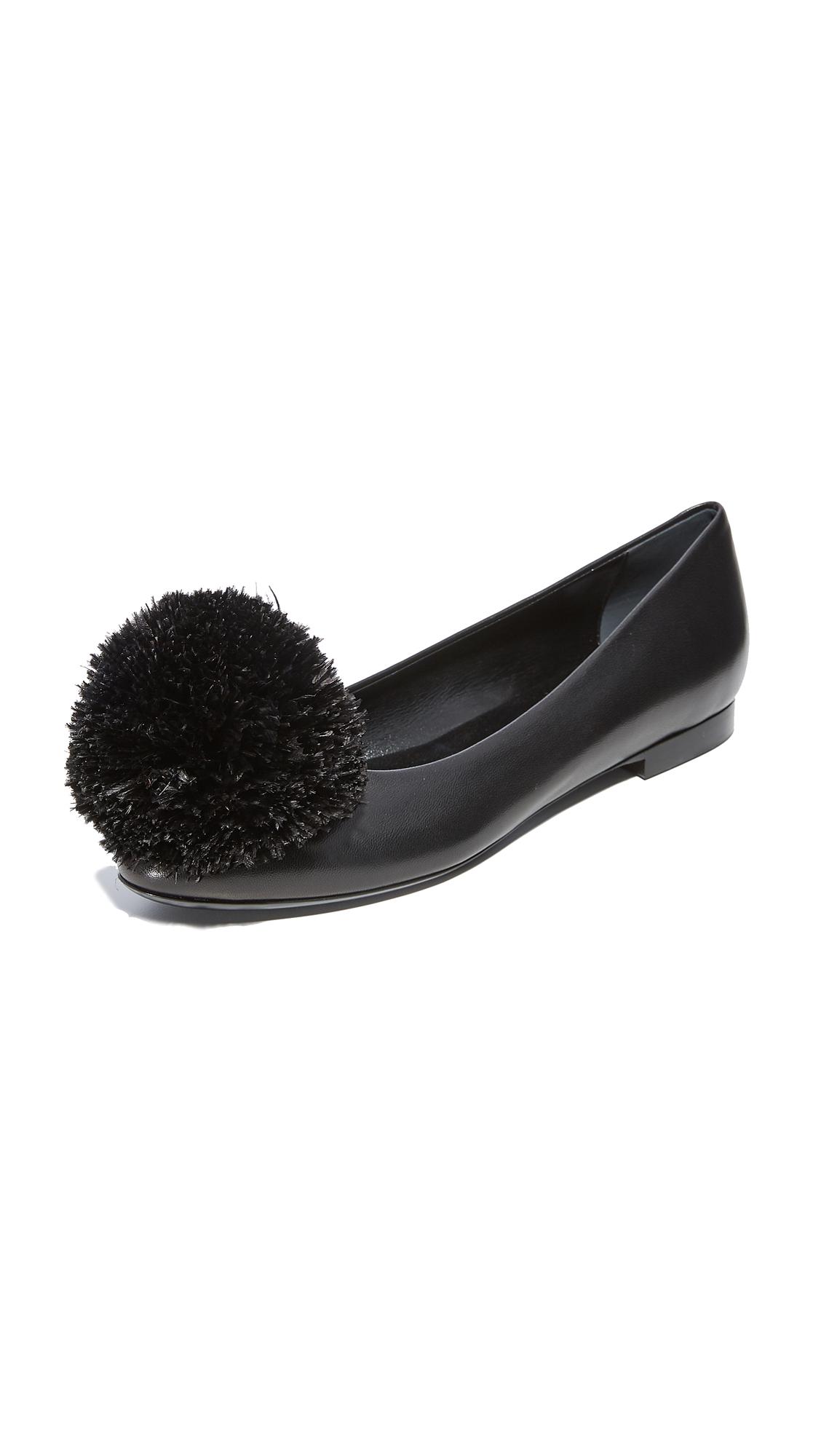 Eugenia Kim Lilou Pom Pom Flats - Black
