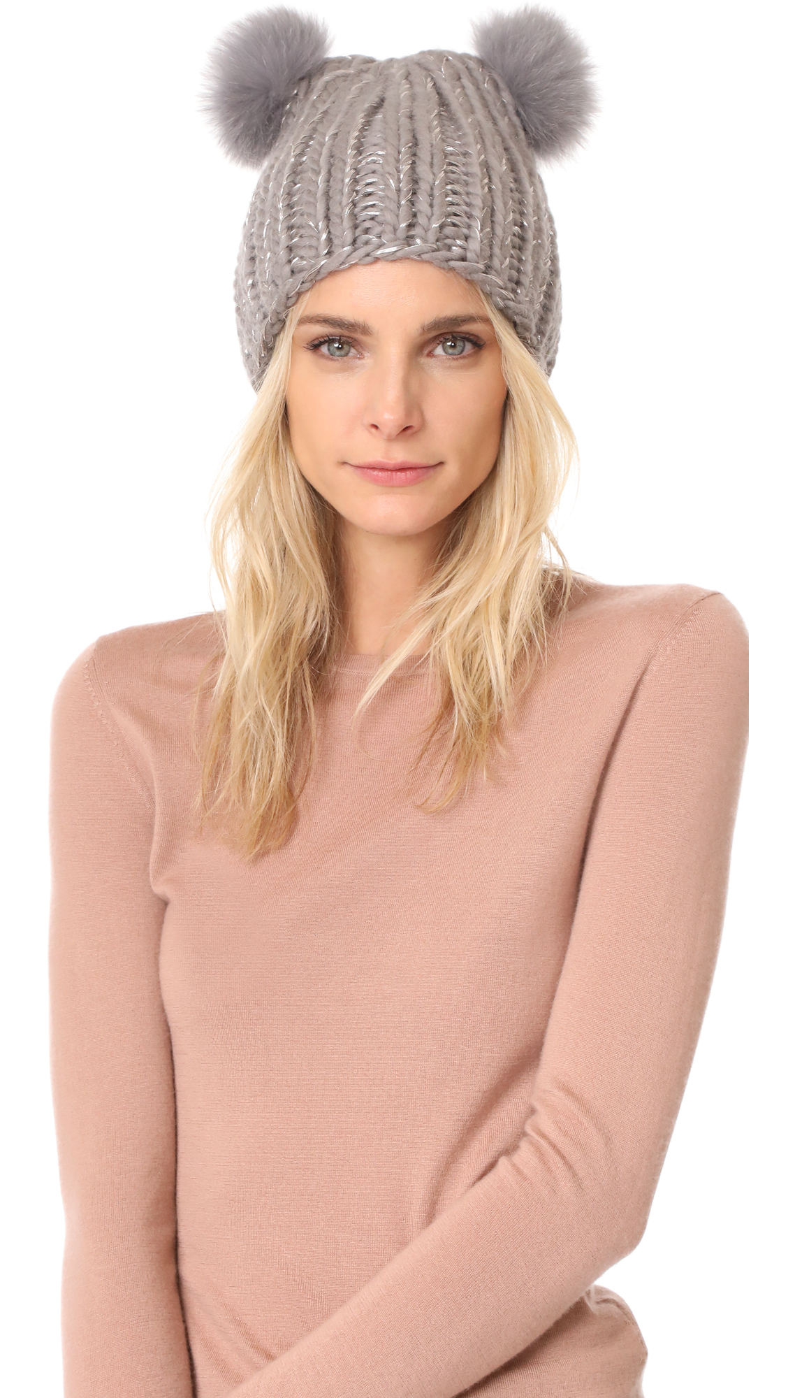 Eugenia Kim Mimi Pom Pom Beanie Hat - Taupe