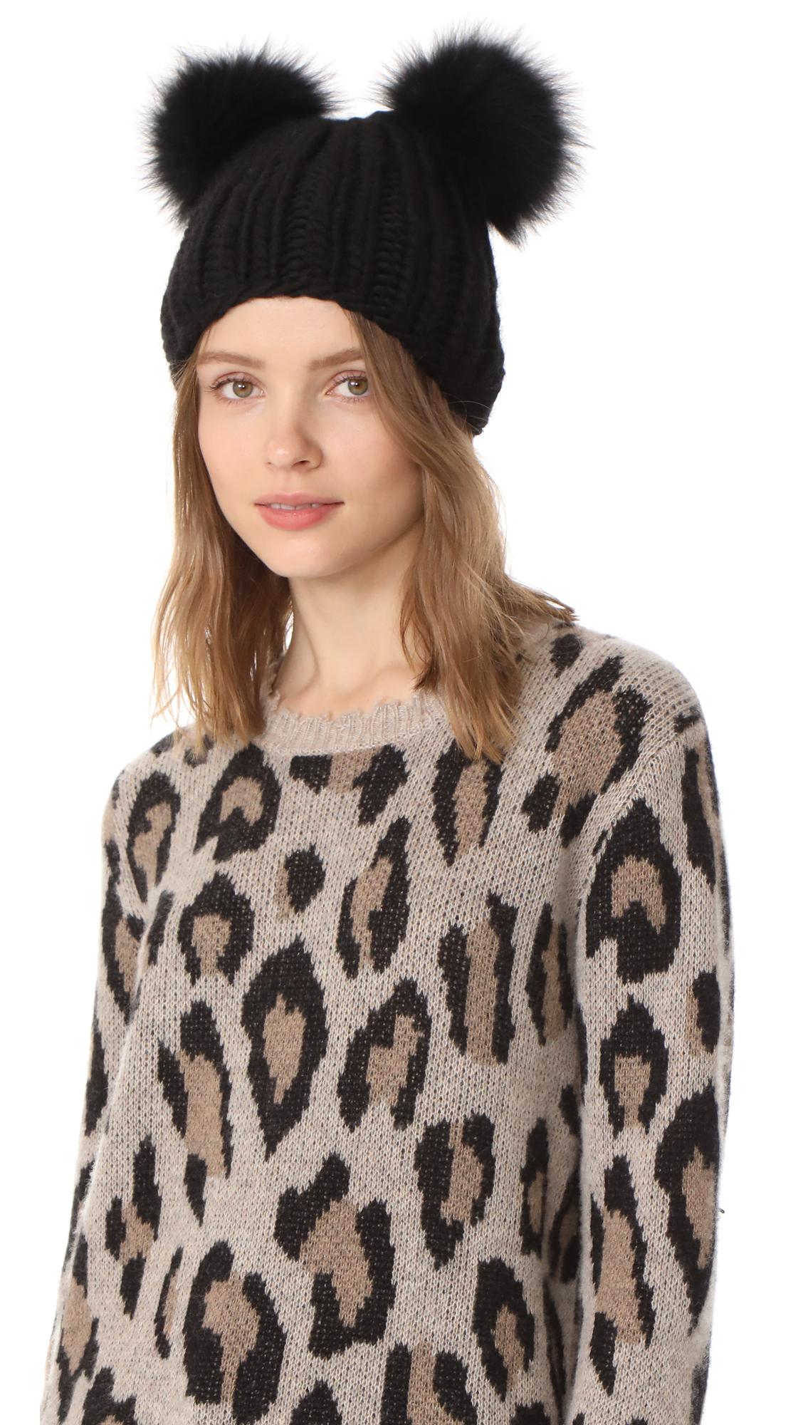 Eugenia Kim Mimi Pom Pom Fur Beanie Hat - Black