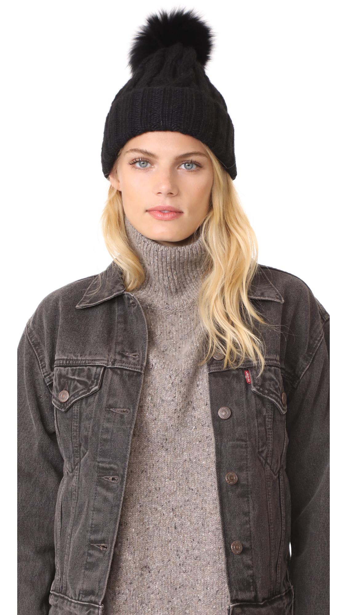 Eugenia Kim Andrea Fur Pom Pom Hat - Black