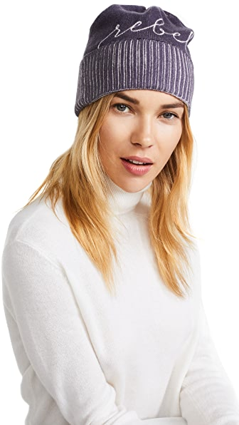 Eugenia Kim Poe Rebel Cashmere Beanie In Charcoal/White