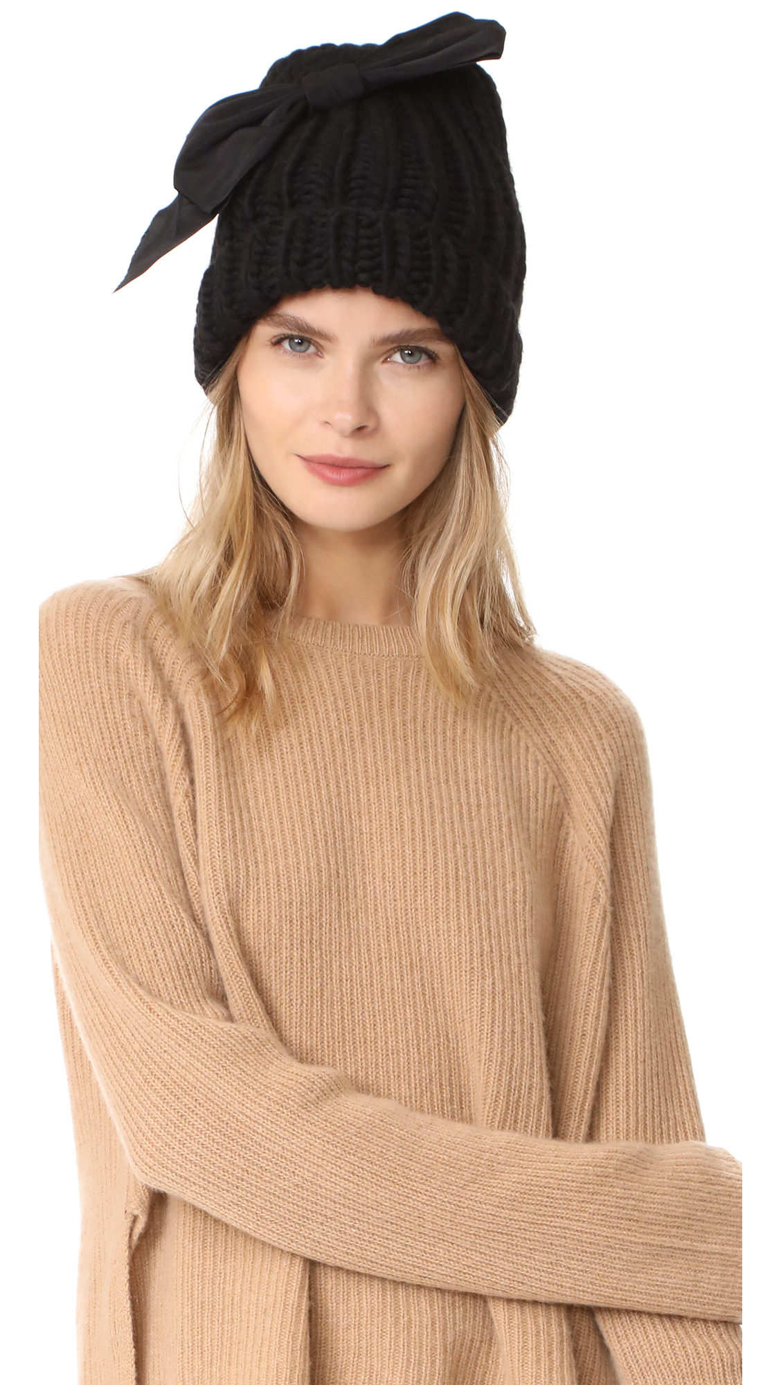 Eugenia Kim Lina Bow Beanie Hat - Black/Black