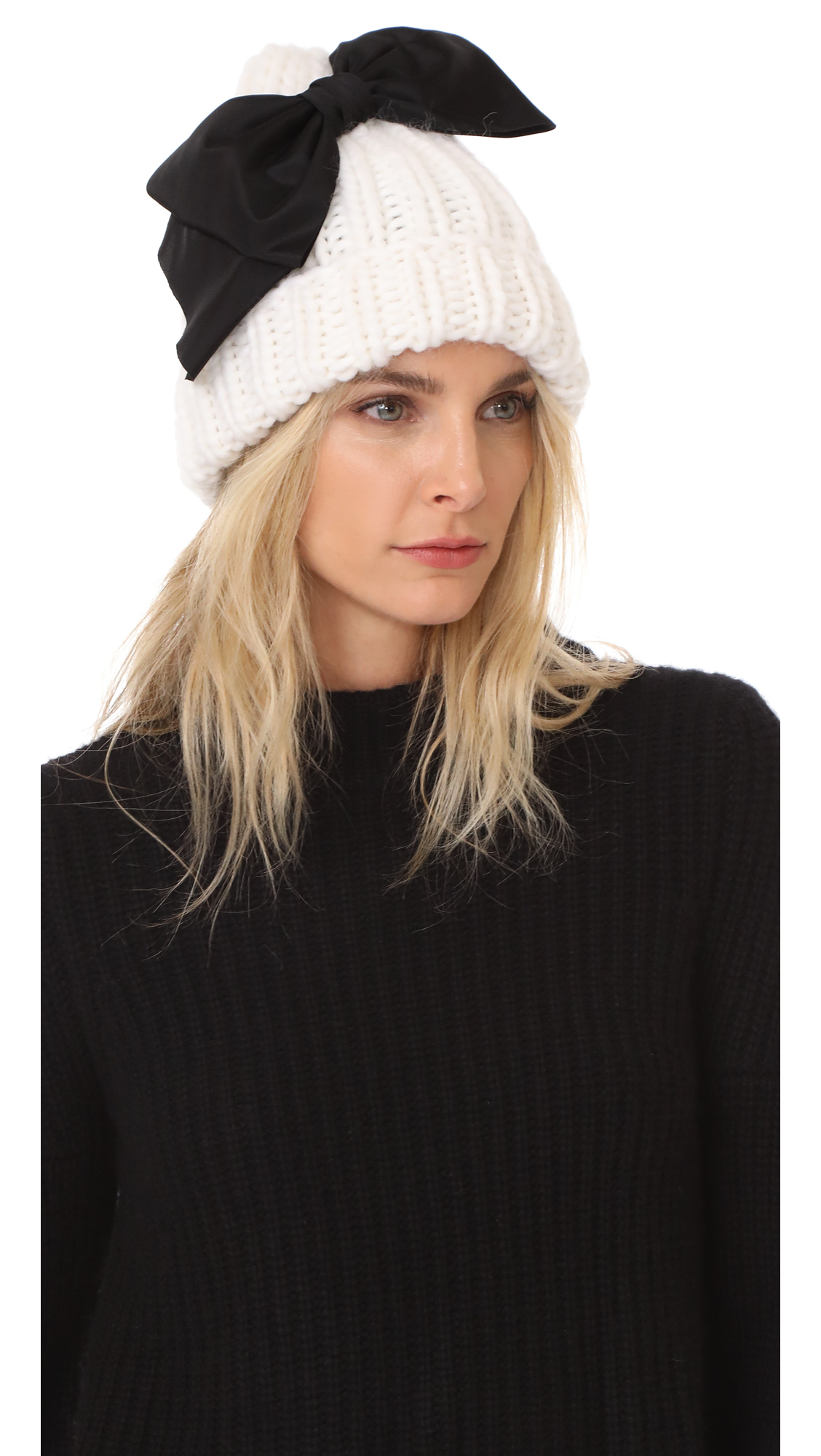 Eugenia Kim Lina Bow Beanie Hat - Black/White