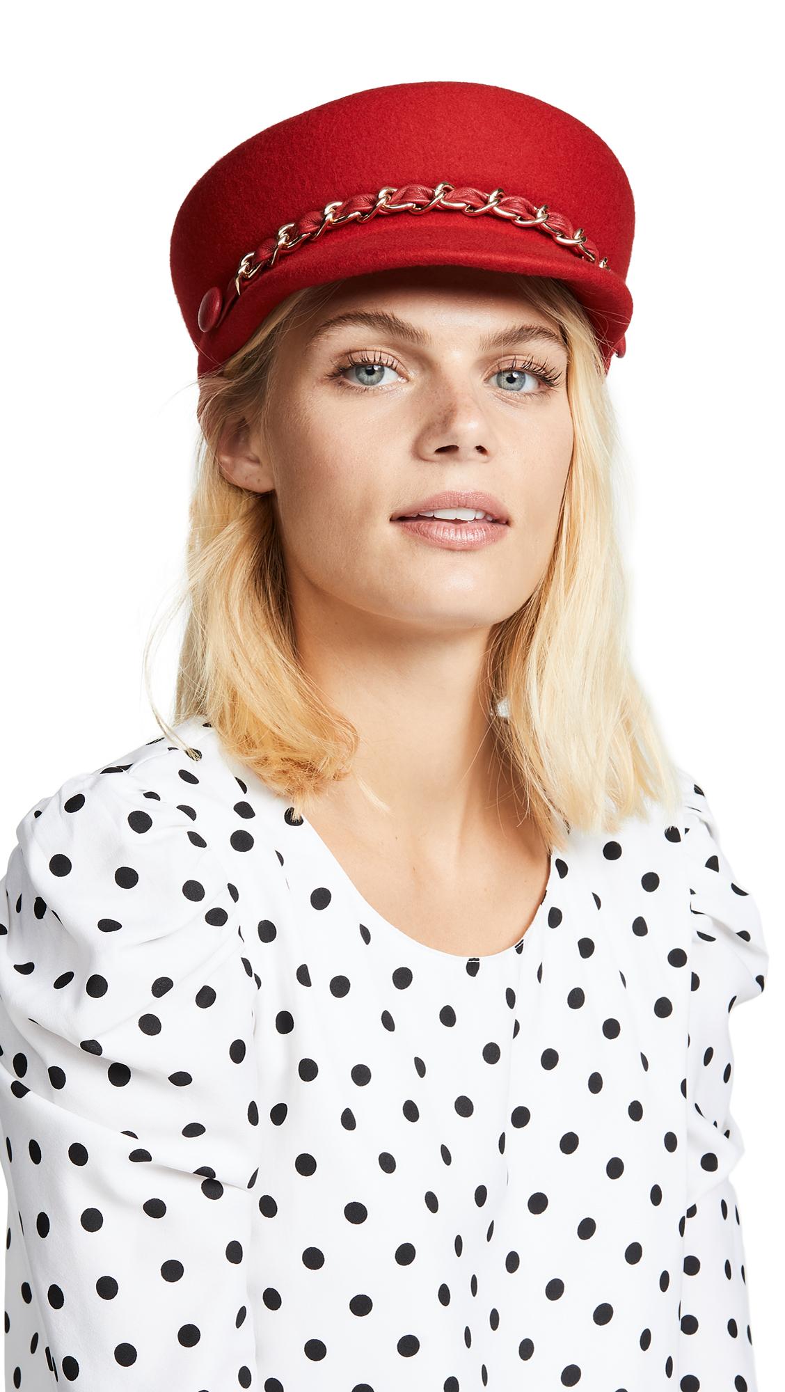 Sabrina Wool Baker Boy Cap - Red