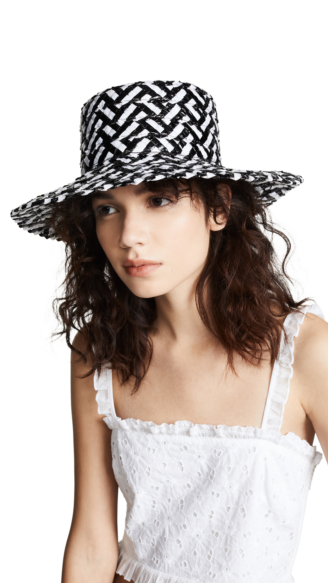 Stevie Straw Hat - White in White/Black