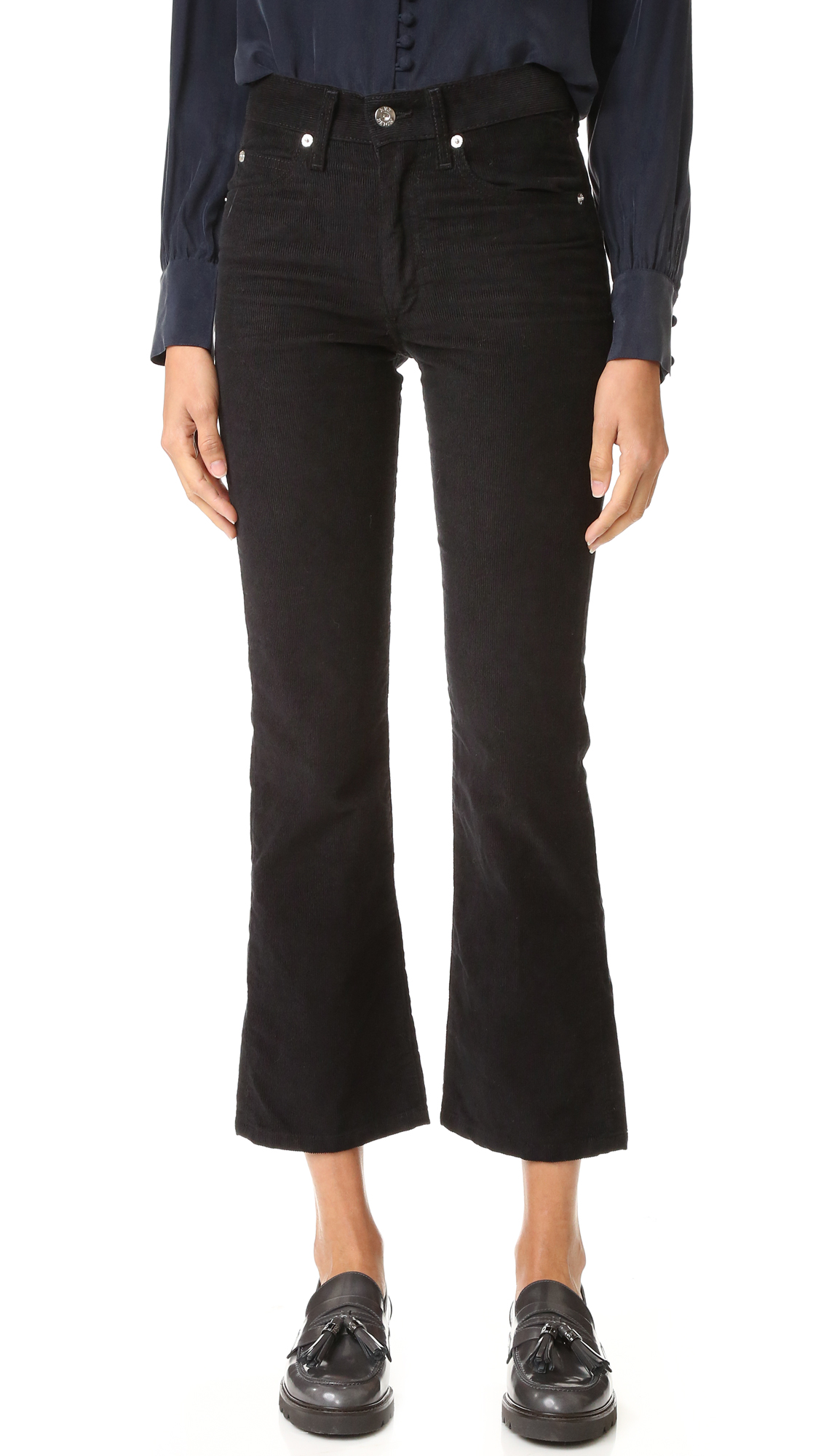 Eve Denim corduroy pants in a high rise profile. 5 pocket styling. Button closure and zip fly. Fabric: Stretch corduroy. 98% cotton/2% lycra spandex. Wash cold. Made in the USA. Measurements Rise: 10.75in / 27cm Inseam: 27.5in / 70cm Leg