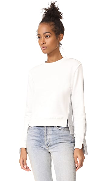 EVIDNT French Terry Colorblocked Sweatshirt In Off White/Heather Grey