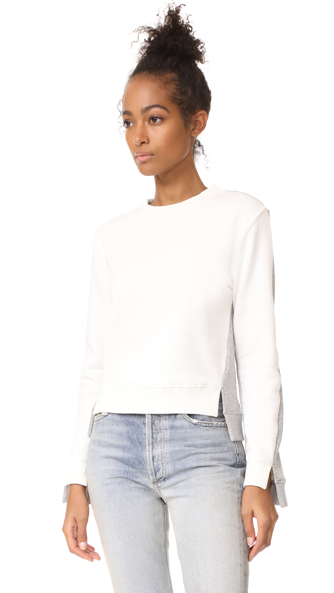 EVIDNT French Terry Colorblocked Sweatshirt - Off White/Heather Grey