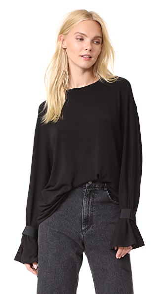 EVIDNT Cuff Tie Detailed Top In Black