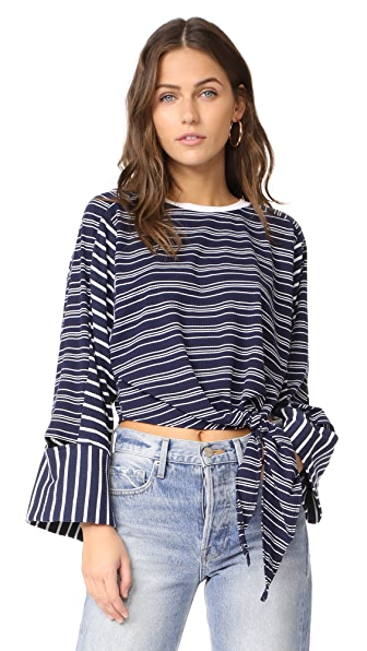 EVIDNT Knotted Crop Top with Cutout Sleeves In Navy Stripe