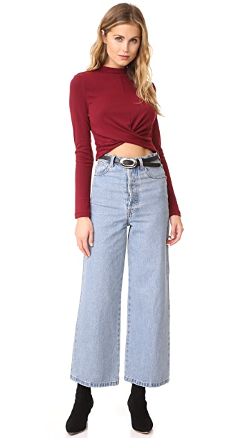 EVIDNT Front Knotted Crop Top with Mock Neck